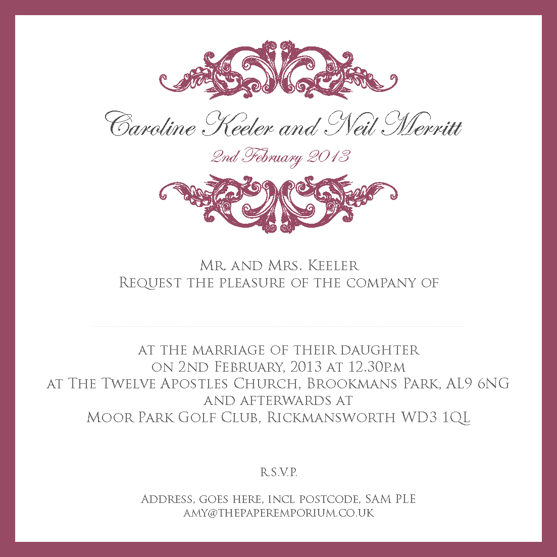 Second Marriage Invitation Wording for luxury invitations design
